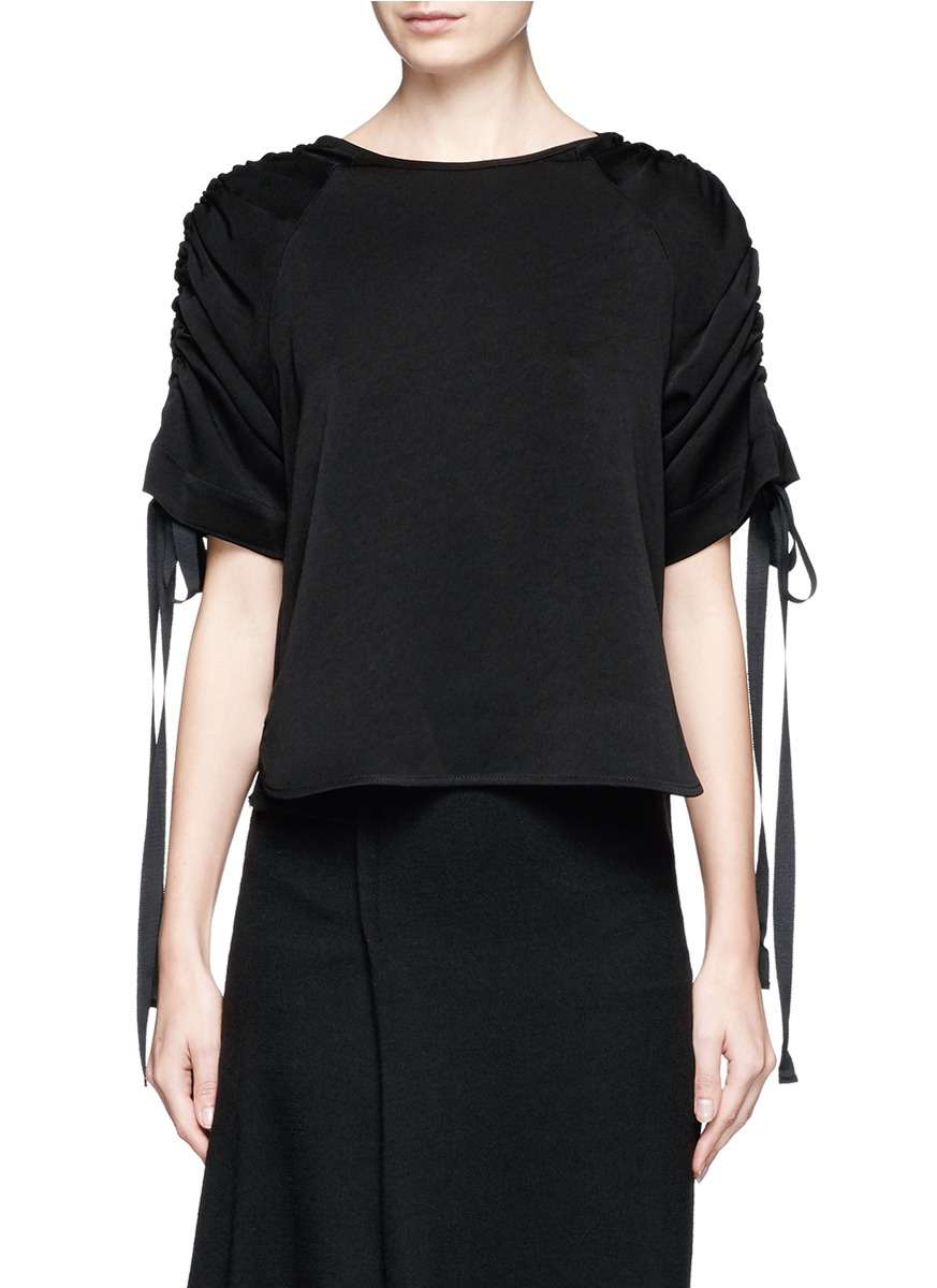Ruched sleeve crepe back satin top by Georgia Alice