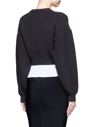 Back View - Click To Enlarge - Alexander Wang  - Contrast hem chunky rib knit sweater