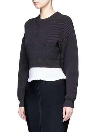 Front View - Click To Enlarge - Alexander Wang  - Contrast hem chunky rib knit sweater