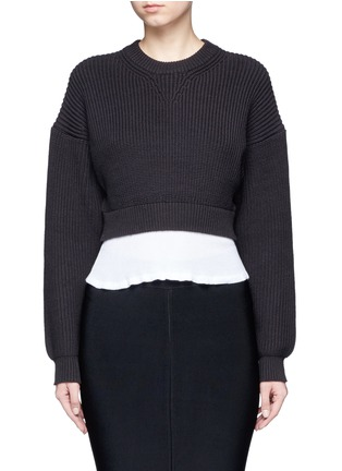 Main View - Click To Enlarge - Alexander Wang  - Contrast hem chunky rib knit sweater