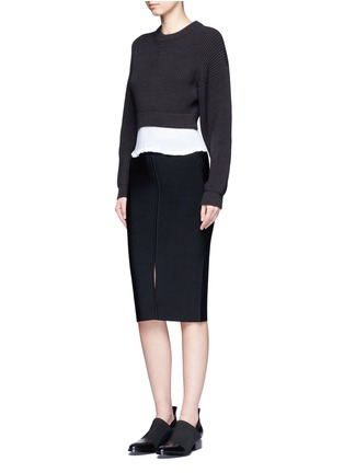 Figure View - Click To Enlarge - Alexander Wang  - Contrast hem chunky rib knit sweater