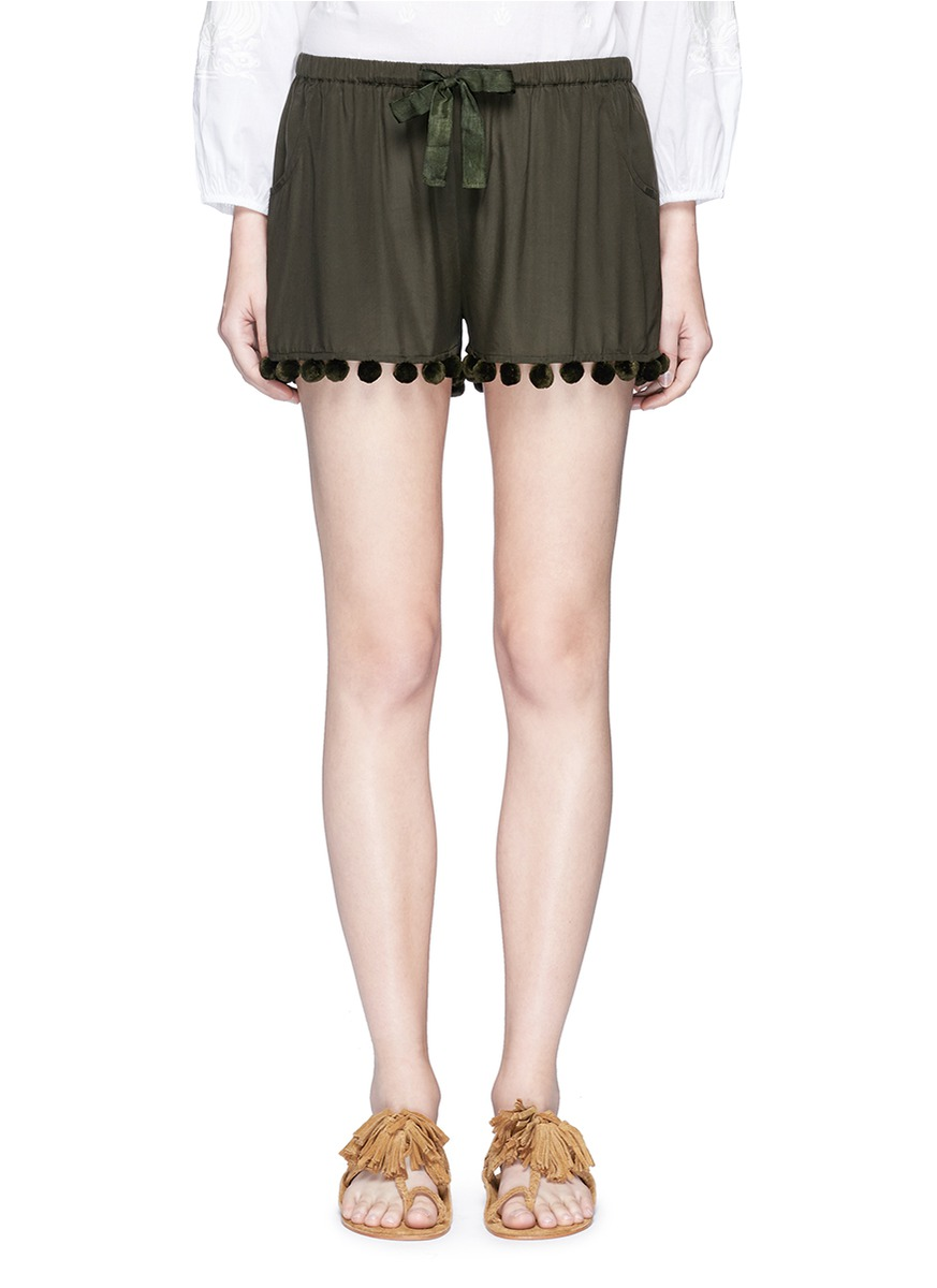 Maja pompom woven silk shorts by Figue