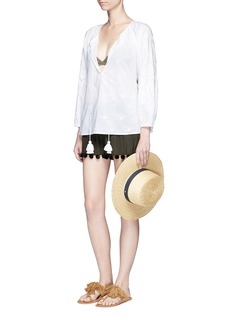 Figue'Maja' pompom woven silk shorts