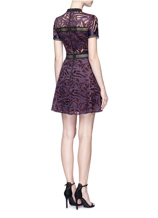 Back View - Click To Enlarge - self-portrait - 'Eliza' panelled cutwork flared mini dress
