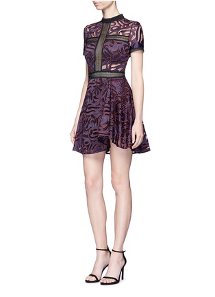 Figure View - Click To Enlarge - self-portrait - 'Eliza' panelled cutwork flared mini dress