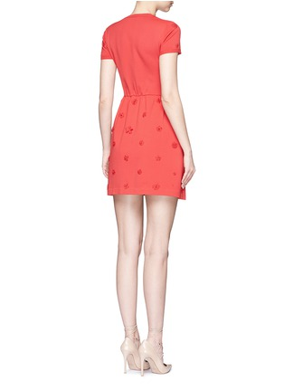 Back View - Click To Enlarge - Valentino - Crepe Couture daisy appliqué knit dress
