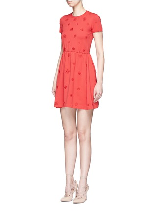 Front View - Click To Enlarge - Valentino - Crepe Couture daisy appliqué knit dress