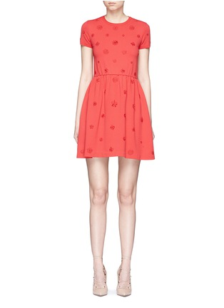 Main View - Click To Enlarge - Valentino - Crepe Couture daisy appliqué knit dress