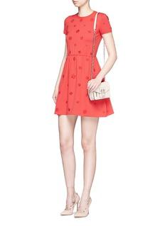 ValentinoCrepe Couture daisy appliqué knit dress