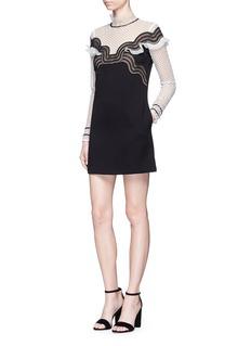 self-portrait'Monochrome Wave' dot mesh crepe mini dress