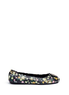Tory Burch 'Minnie Travel' floral print leather ballet flats