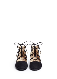 Sam Edelman 'Felicia Stella' faux suede lace-up kids flats