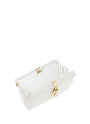 Detail View - Click To Enlarge - Dolce & Gabbana - 'Dolce Box' inset Taormina lace Plexiglas clutch