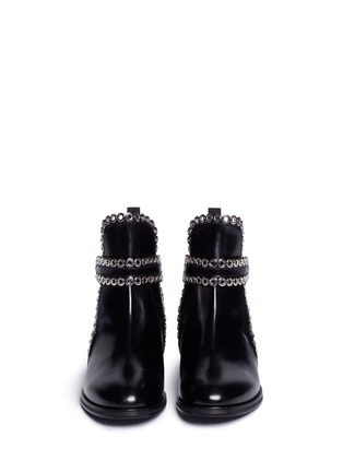 Front View - Click To Enlarge - Alaïa - 'Platef' eyelet leather Chelsea boots