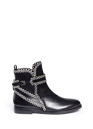 Main View - Click To Enlarge - Alaïa - 'Platef' eyelet leather Chelsea boots