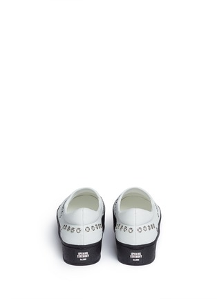 Back View - Click To Enlarge - Opening Ceremony - 'Cici' eyelet leather flatform skate slip-ons