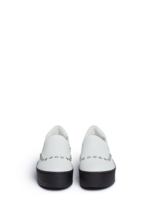 Front View - Click To Enlarge - Opening Ceremony - 'Cici' eyelet leather flatform skate slip-ons