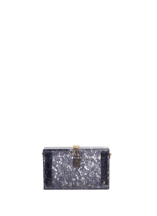 Back View - Click To Enlarge - Dolce & Gabbana - 'Dolce Box' inset Taormina lace Plexiglas clutch