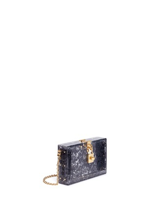 Figure View - Click To Enlarge - Dolce & Gabbana - 'Dolce Box' inset Taormina lace Plexiglas clutch