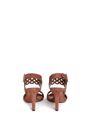 Back View - Click To Enlarge - Alaïa - Eyelet slingback suede sandals