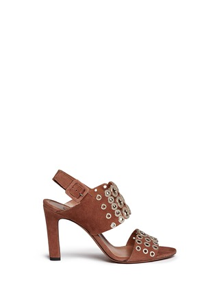 Main View - Click To Enlarge - Alaïa - Eyelet slingback suede sandals