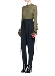 Haider Ackermann Ruffle lace-up sleeve twill shirt