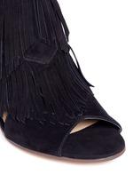 'Elaine' fringe suede peep toe sandals