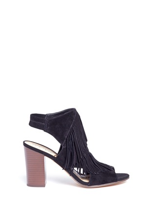 Main View - Click To Enlarge - Sam Edelman - 'Elaine' fringe suede peep toe sandals