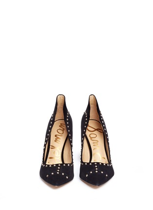 Front View - Click To Enlarge - Sam Edelman - 'Hayden' geometric patchwork stud suede pumps