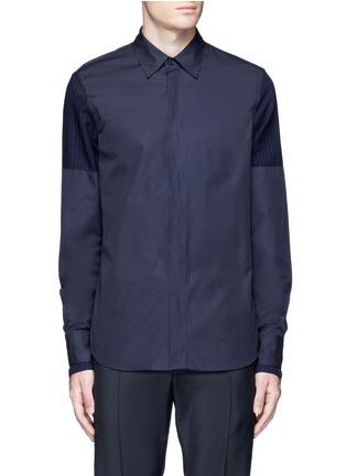 Main View - Click To Enlarge - Marni - Layered pinstripe sleeve cotton shirt