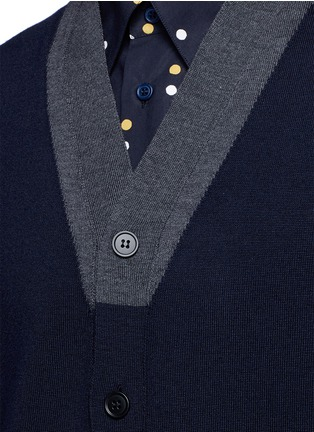 Detail View - Click To Enlarge - Marni - Contrast collar virgin wool cardigan