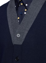 Contrast collar virgin wool cardigan