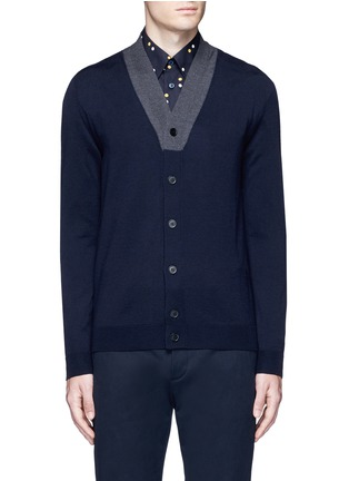 Main View - Click To Enlarge - Marni - Contrast collar virgin wool cardigan