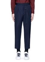 Pleated wool gabardine pants