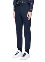 Slim fit rolled cuff cotton pants
