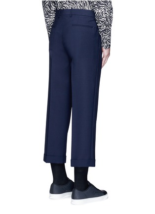 Back View - Click To Enlarge - Marni - Wide leg rolled cuff wool pants