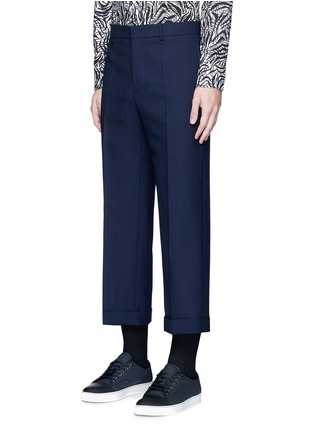 Front View - Click To Enlarge - Marni - Wide leg rolled cuff wool pants
