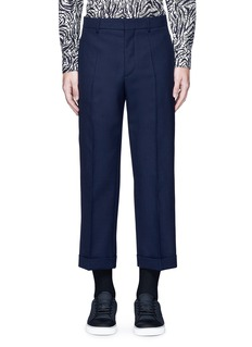 MarniWide leg rolled cuff wool pants