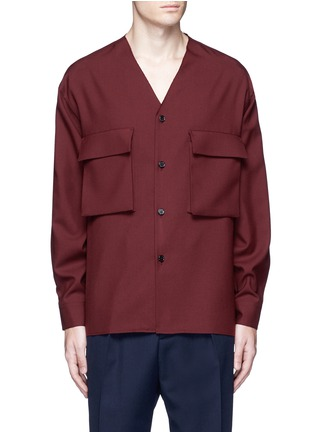 Main View - Click To Enlarge - Marni - Raw edge neckline tropical wool shirt