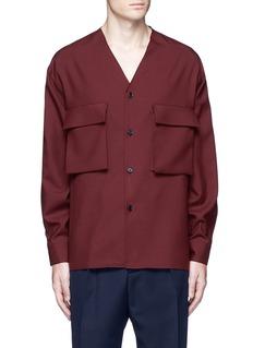MarniRaw edge neckline tropical wool shirt