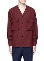 Raw edge neckline tropical wool shirt