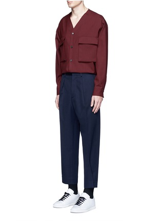 Figure View - Click To Enlarge - Marni - Raw edge neckline tropical wool shirt