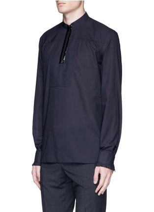Front View - Click To Enlarge - Maison Margiela - Zip front cotton poplin shirt