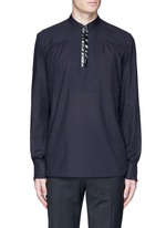 Zip front cotton poplin shirt