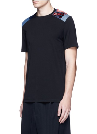 Front View - Click To Enlarge - Maison Margiela - Velvet and denim patchwork T-shirt