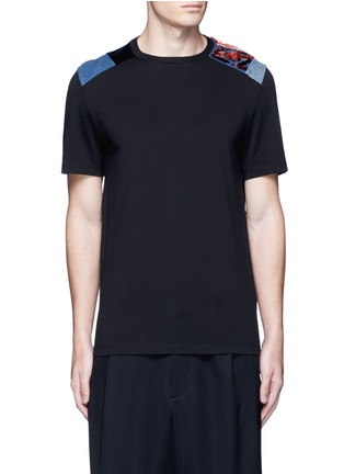 Main View - Click To Enlarge - Maison Margiela - Velvet and denim patchwork T-shirt