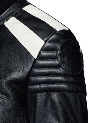 Detail View - Click To Enlarge - Maison Margiela - Deconstructed leather biker coat