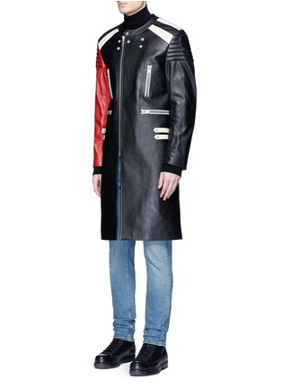 Front View - Click To Enlarge - Maison Margiela - Deconstructed leather biker coat