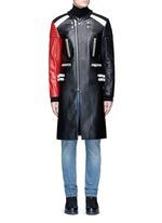 Deconstructed leather biker coat
