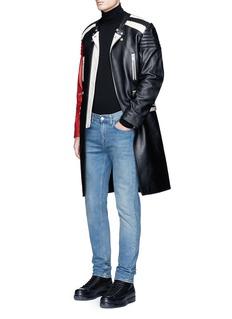 Maison MargielaDeconstructed leather biker coat